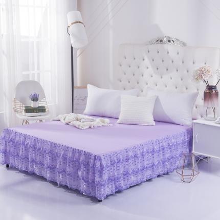 丹虹家纺 蕾丝床裙洛丽塔紫色