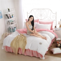 绒耀家纺 水晶绒球球四件套床裙款约定-粉白
