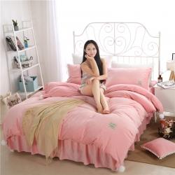 绒耀家纺 水晶绒球球四件套床裙款约定-粉玉