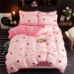 欣晴家纺 2018棉加绒法莱绒水晶绒四件套床单款 草莓情侣