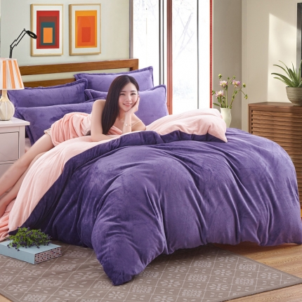 弘博家纺 纯色法莱绒四件套 雅紫+玉色