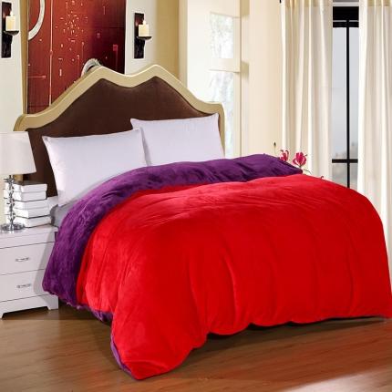 弘博家纺 纯色法莱绒单品被套  大红+深紫