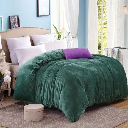 弘博家纺 纯色法莱绒单品被套  墨绿