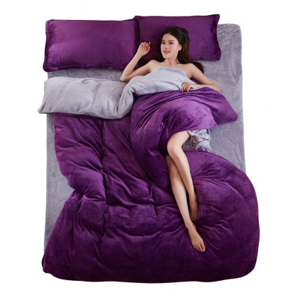 弘博家纺 纯色法莱绒四件套 深紫+银灰