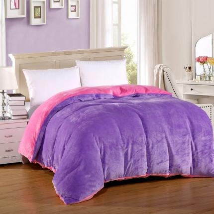 恺畅家纺 纯色法莱绒单品被套  浅紫+粉红