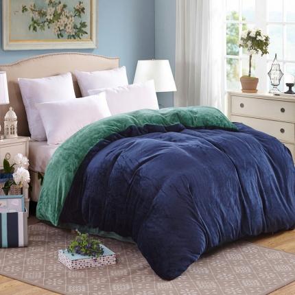 弘博家纺 纯色法莱绒单品被套  深蓝+墨绿