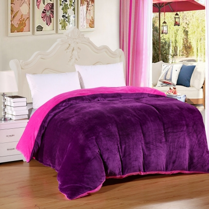 恺畅家纺 纯色法莱绒单品被套  深紫+玫红