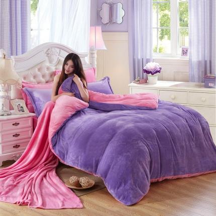 恺畅家纺 纯色法莱绒四件套 浅紫+粉红