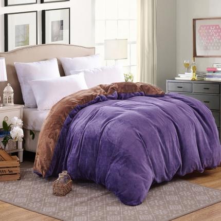 弘博家纺 纯色法莱绒单品被套  雅紫+咖啡