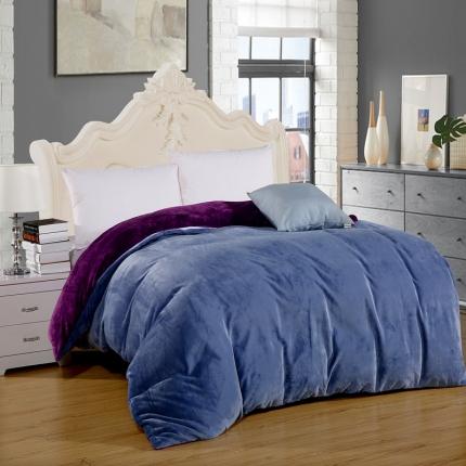 弘博家纺 纯色法莱绒单品被套  烟灰+深紫