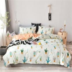全棉粉色系小清新北欧风叶子三件套四件套床单款床笠