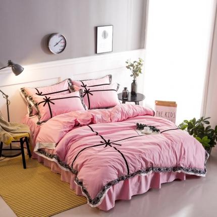 魅色家纺 全棉蕾丝相遇系列床裙款 相遇-粉红