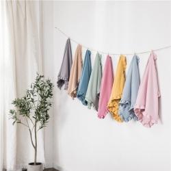 (總)輕奢坊 2020水洗棉褶皺花邊單品枕套48*74cm