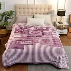 城市居品  时光系列新中式大版印花云毯毛毯 爱的告白豆沙