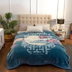 城市居品  时光系列新中式大版印花云毯毛毯 暗香疏影蓝