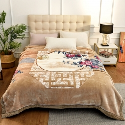 城市居品  时光系列新中式大版印花云毯毛毯 暗香疏影驼黄
