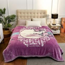 城市居品 时光系列新中式大版印花云毯毛毯 暗香疏影紫
