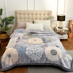 城市居品 时光系列新中式大版印花云毯毛毯 花姿墨染灰