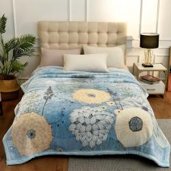 城市居品 时光系列新中式大版印花云毯毛毯 花姿墨染蓝