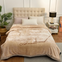 城市居品 时光系列新中式大版印花云毯毛毯 思叶情米黄