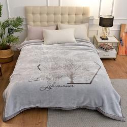 城市居品 时光系列新中式大版印花云毯毛毯 思叶情浅灰