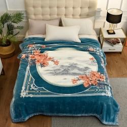 城市居品 时光系列新中式大版印花云毯毛毯 岁月花歌湖蓝