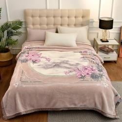 城市居品 时光系列新中式大版印花云毯毛毯 岁月花歌浅棕