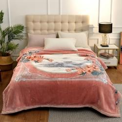 城市居品 时光系列新中式大版印花云毯毛毯 岁月花歌玉色