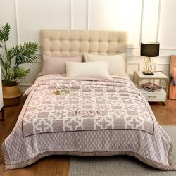 城市居品 时光系列新中式大版印花云毯毛毯 印象情伦