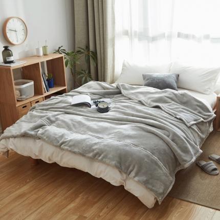 寐眠 无印法莱绒厚毛毯浅灰色