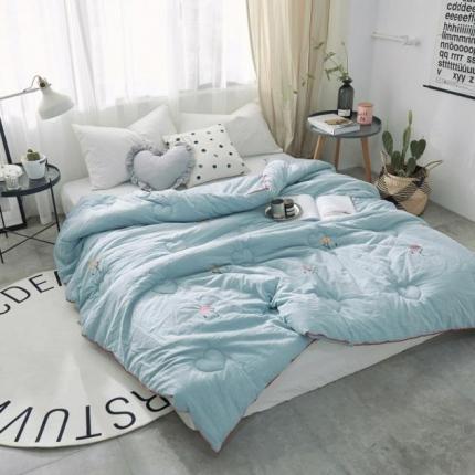 寐眠 水洗棉冬被-火烈鸟 蓝色