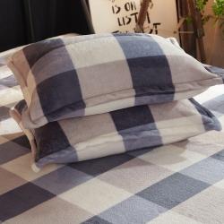 永得利家纺 法莱绒四件套单品枕套一只 爱的海洋-灰
