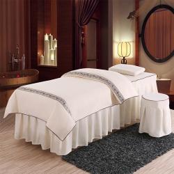 旺妙家纺 新款美容床罩比翼双飞四件套 比翼双飞-米白