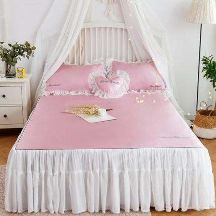 菊上家纺 2019新品冰丝席床裙款 玫瑰粉