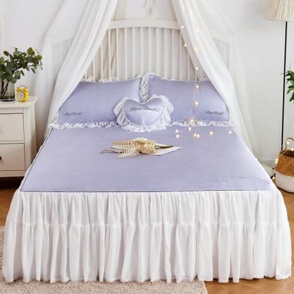 菊上家纺 2019新品冰丝席床裙款 烟灰紫