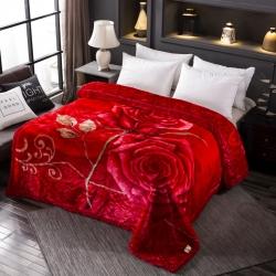 丹兰家纺 双层加厚拉舍尔毛毯冬季保暖毛毯被 294大红