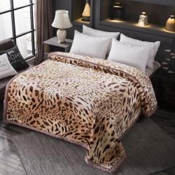 丹兰家纺 双层加厚拉舍尔毛毯冬季保暖毛毯被 318豹纹
