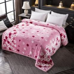 丹兰家纺 双层加厚拉舍尔毛毯冬季保暖毛毯被 324粉色
