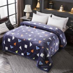 丹兰家纺 双层加厚拉舍尔毛毯冬季保暖毛毯被 多彩几何