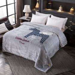 丹兰家纺 双层加厚拉舍尔毛毯冬季保暖毛毯被 飞马
