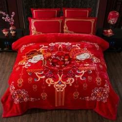 丹兰拉舍尔毛毯大红婚庆天丝毯结婚云毯法兰绒龙凤喜字才子佳人