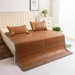 加厚双面凉席木纹可折叠镜面竹席水磨碳化竹凉席 1.51.8米