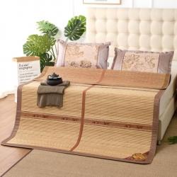 加厚双面凉席木纹可折叠镜面竹席水磨碳化竹凉席 春意盎然
