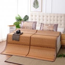 加厚双面凉席木纹可折叠镜面竹席水磨碳化竹凉席 清凉一夏