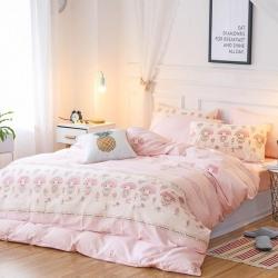 (总) 全棉四件套床单被套纯棉三4件套火烈鸟床笠款