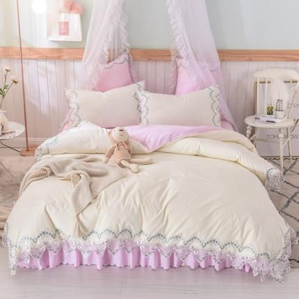 芭比蔓 2019新款磨毛压花蕾丝四件套 玫瑰秘密-粉白