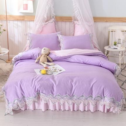 芭比蔓 2019新款磨毛压花蕾丝四件套 玫瑰秘密-紫粉