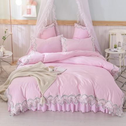 芭比蔓 2019新款磨毛压花蕾丝四件套 玫瑰秘密-粉色