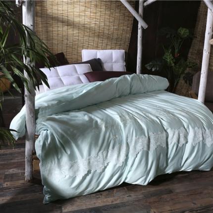 丝佳蚕丝 60sx60s全棉贡缎蚕丝被卡丽馨水蓝