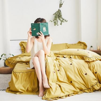 (总)阿曼达 水洗棉刺绣四件套爱心系列床单款